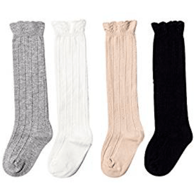 Adorable Essentials, Heathered Ruffle Knee High Socks,socks & tights,Adorable Essentials, LLC