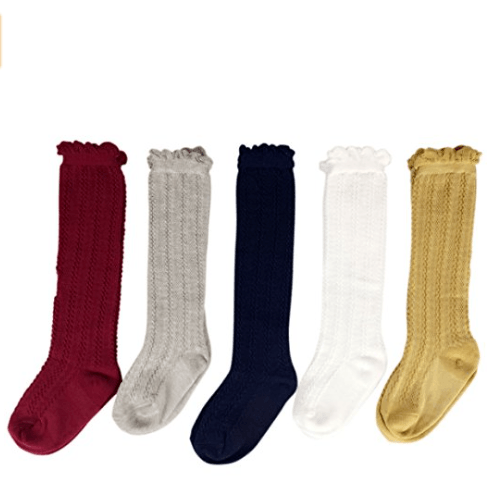 Jewel Tone Ruffle Knee High Socks - Adorable Essentials