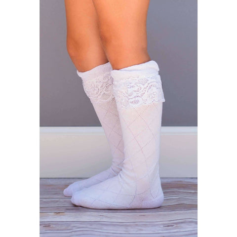 Adorable Essentials, Lace Knee Socks,socks & tights,Adorable Essentials,Adorable Essentials, LLC