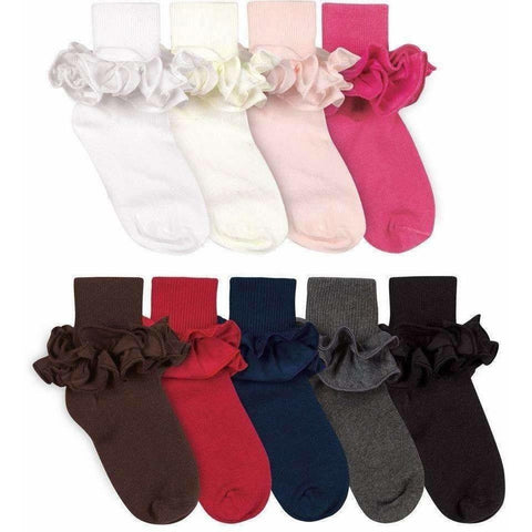Adorable Essentials, Ruffle Turn Cuff Ankle Socks,socks & tights,Adorable Essentials, LLC