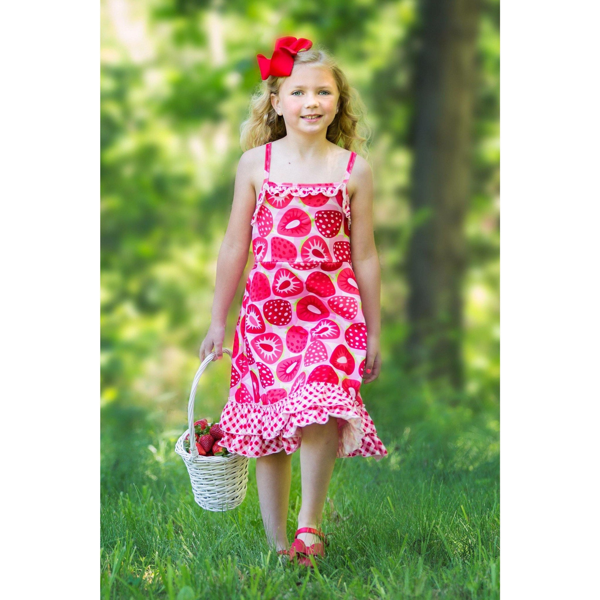Adorable Essentials, Strawberry Picnic Jessa Dress,Dresses,Adorable Essentials, LLC