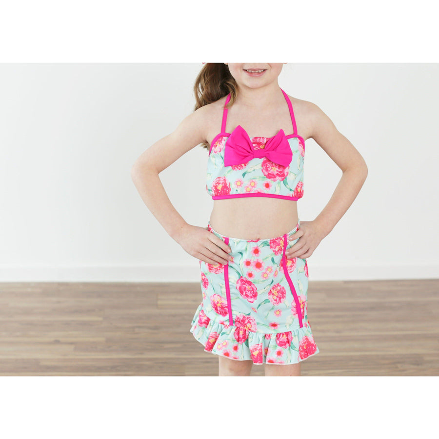 Adorable Essentials, Vintage Girl 3 Piece Floral Swimsuit,Swimsuit,Adorable Essentials, LLC