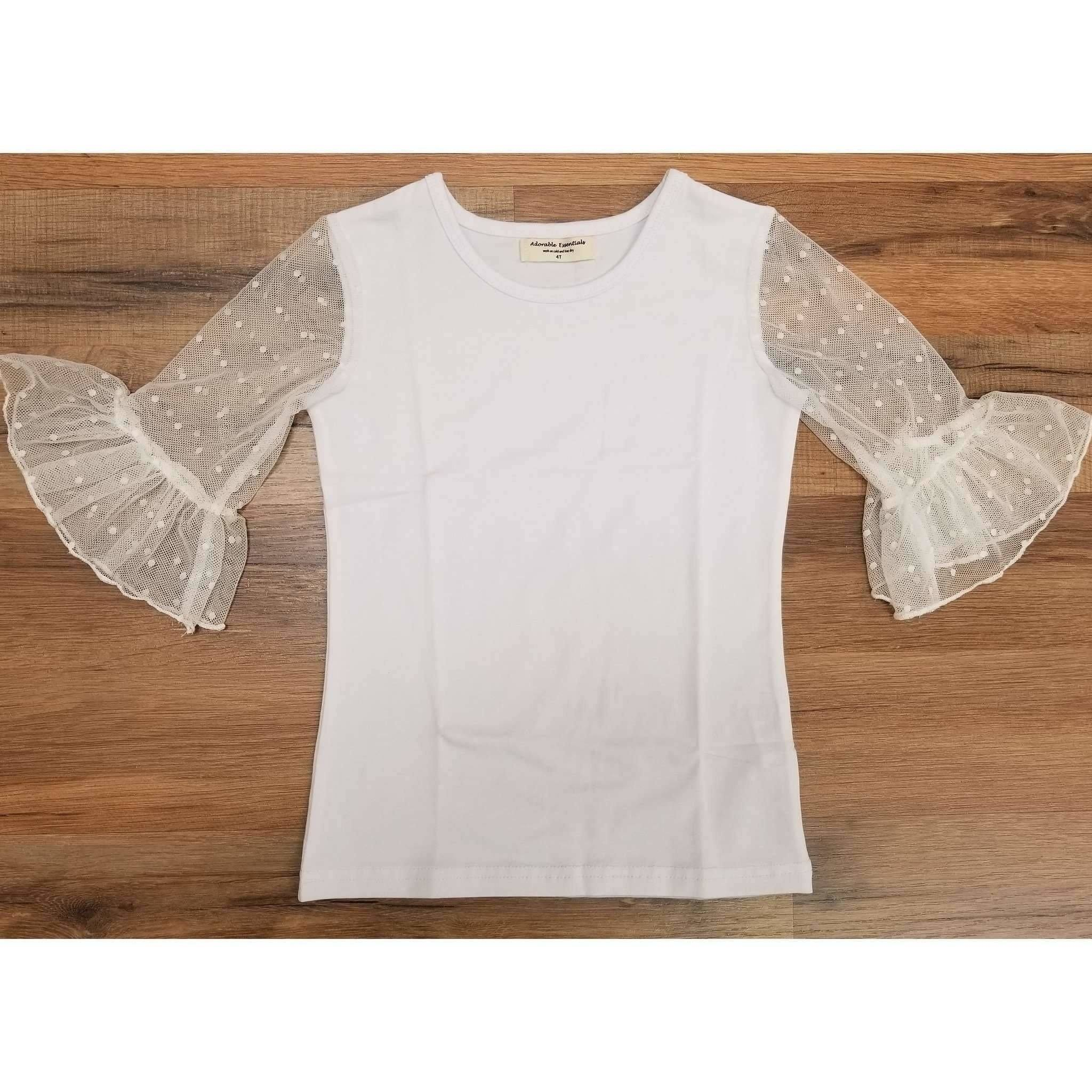 Adorable Essentials, Dainty Lace Mid Sleeve Single Ruffle Shirt,Tops,Adorable Essentials, LLC