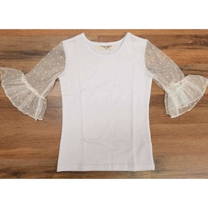 Dainty Lace Mid Sleeve Single Ruffle Shirt - Adorable Essentials, LLC