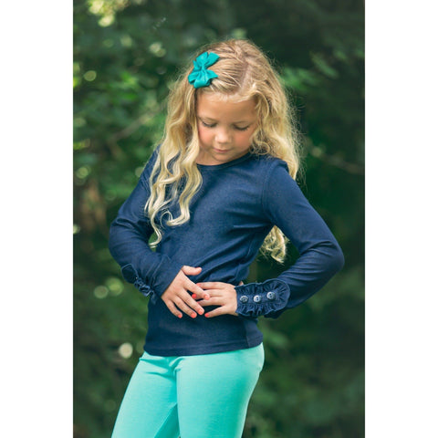Adorable Essentials, Denim Button Ruffle Shirt,Tops,Adorable Essentials,Adorable Essentials, LLC