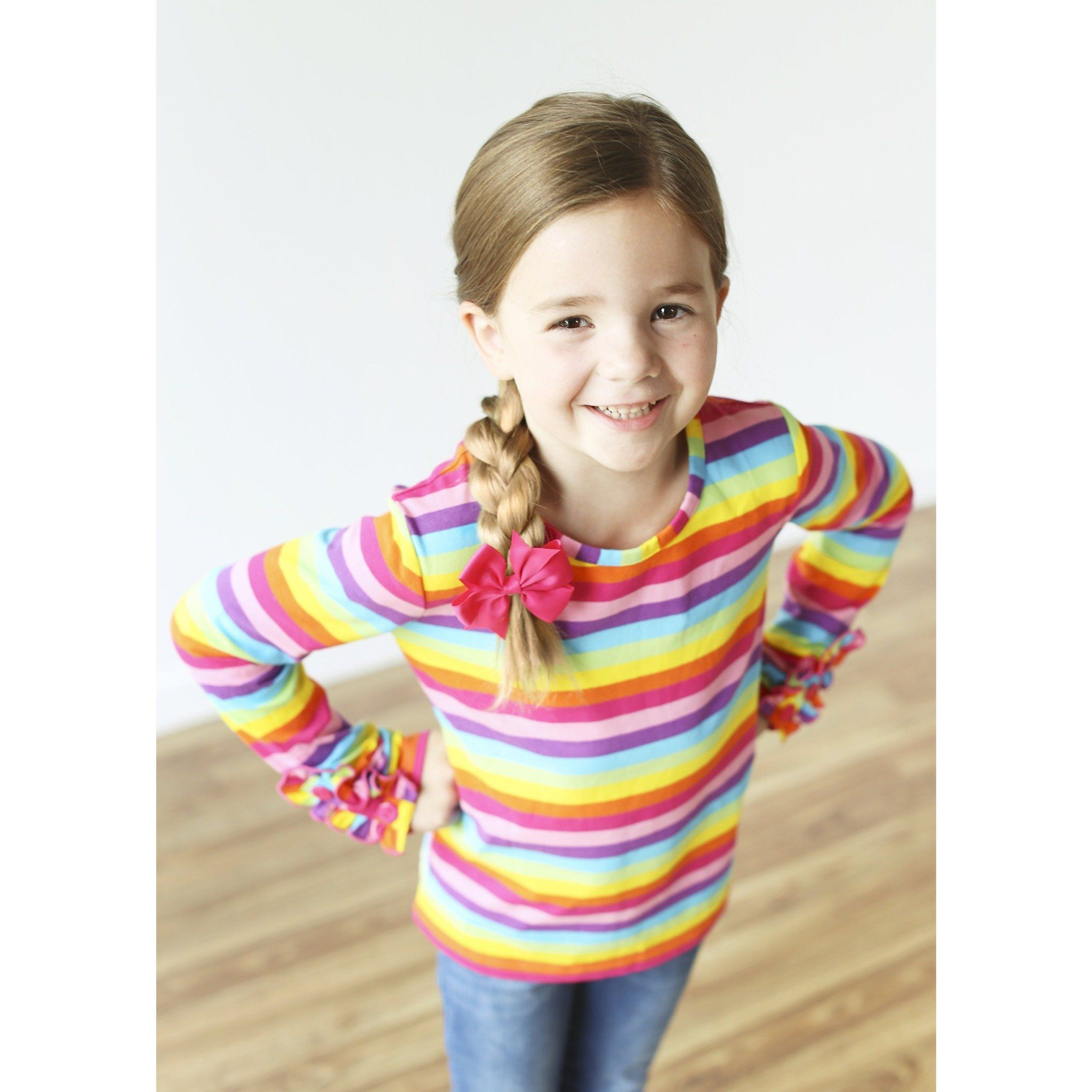 Adorable Essentials, Rainbow Button Ruffle Shirt,Tops,Adorable Essentials, LLC