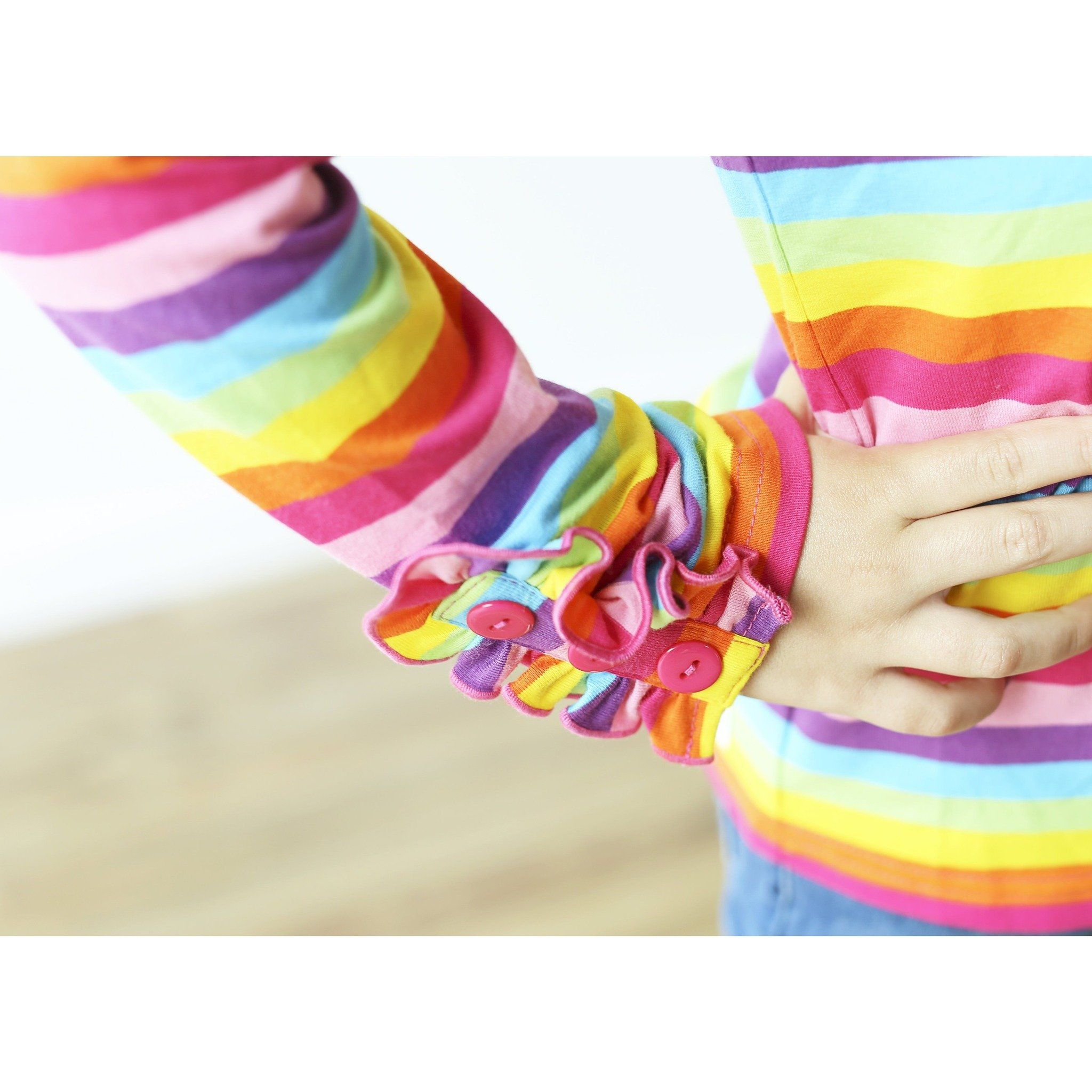 Rainbow Button Ruffle Shirt - Adorable Essentials