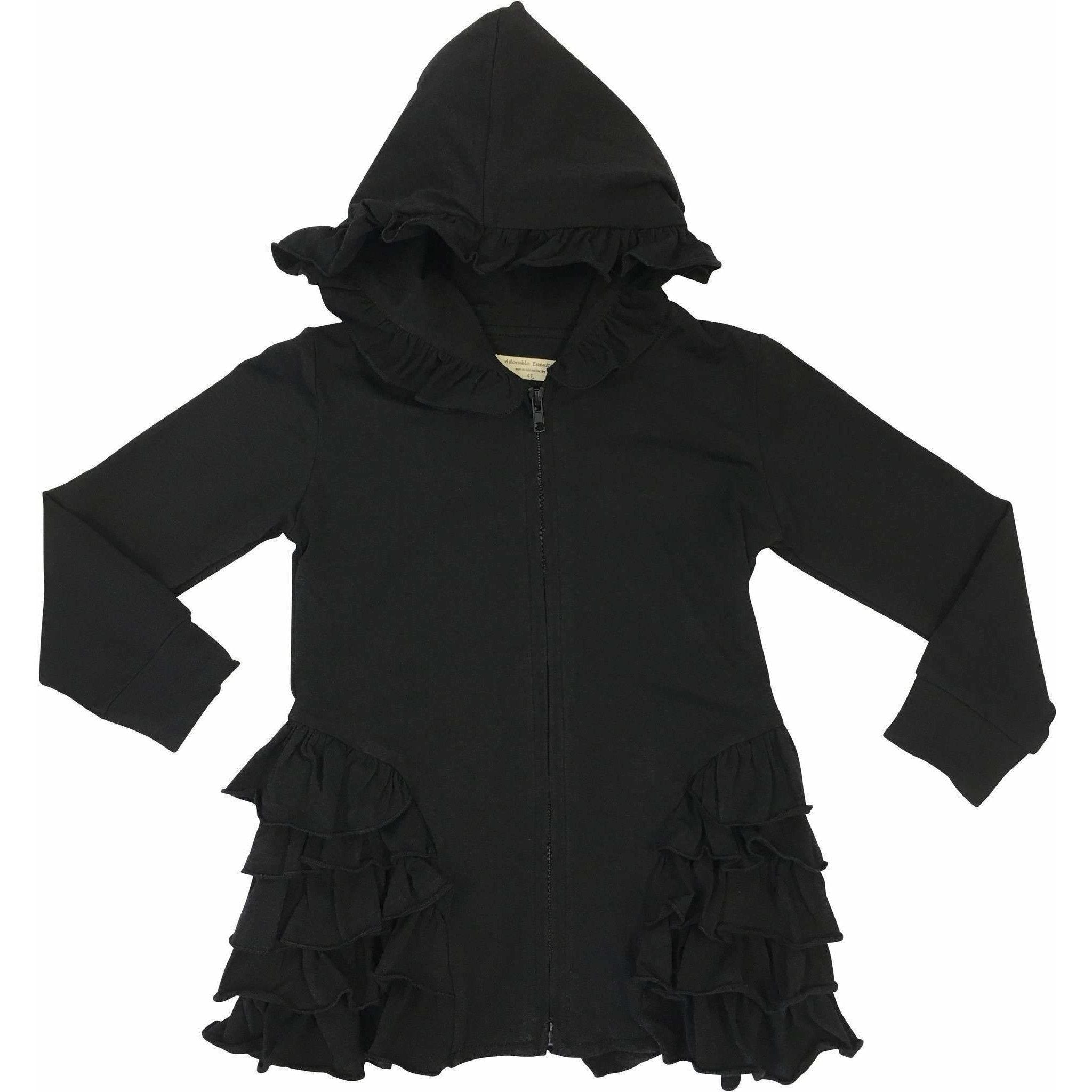Zipper Ruffled Hoodie Cardigan - In stock!! - Adorable Essentials
