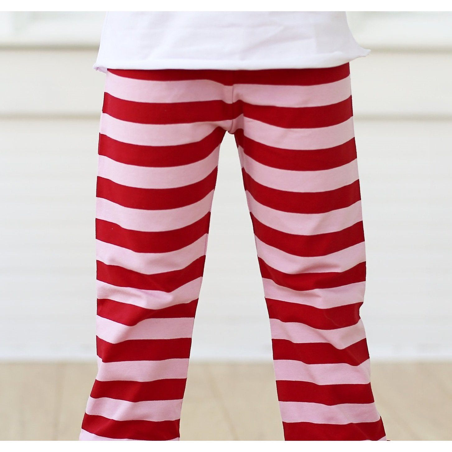 Valentine Stripes Button Ruffle Pants - Adorable Essentials, LLC