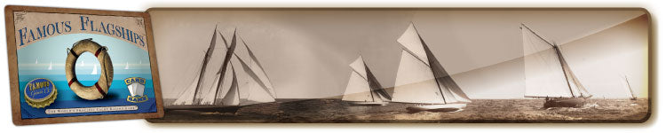 Best vintage two player yacht racing card game, Famous Flagships by Famous Games Co.