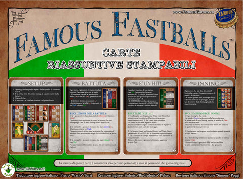 Printable Italian QuickStart cards for Famous Fastballs baseball card game
