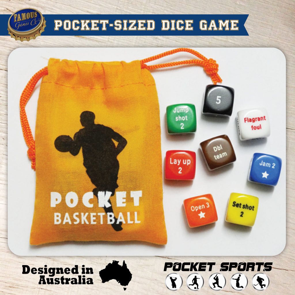 Pocket Basketball Dice Game: a pocket-sized basketball dice game designed in Australia by Pocket Sports - product photo