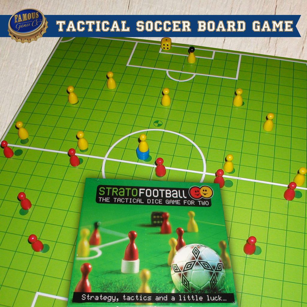 StratoFootball; a chess-like tactical soccer board game designed by Walter Müller of Spielwerkstatt - Game In Play