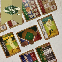 Easy two player baseball card game, Famous Fastballs (photo: game in play)