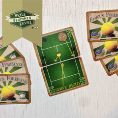 Easy two player tennis card game, Famous Forehand (photo: game in play)