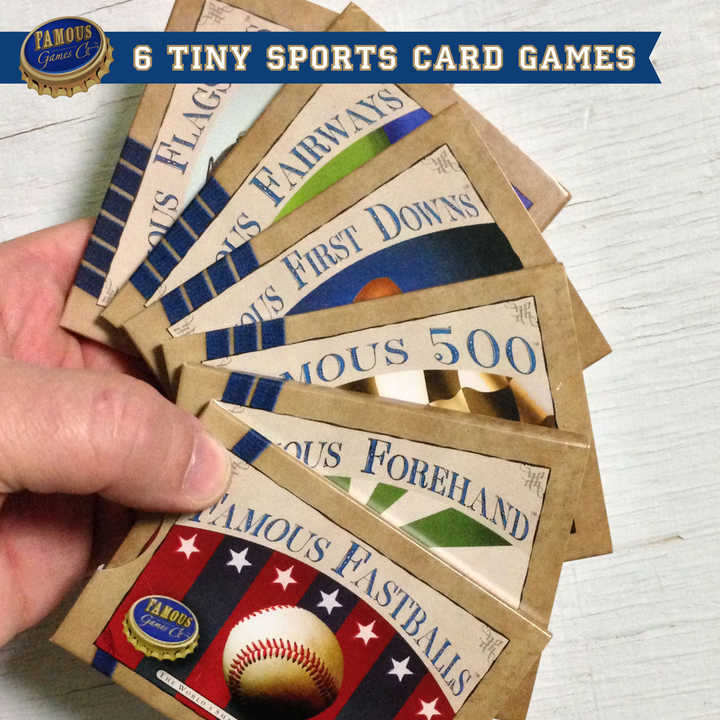 Full set of 6 tiny two player card games by Famous Games Co. - Baseball, Tennis, Car Racing, Football, Golf, and Yacht Racing (photo: games in hand)