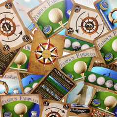 Mid-level card games - The Intermediate Collection from Famous Games Co. - Golf and Yacht Racing (photo: scattered cards)