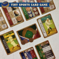 Tiny two player baseball card game, Famous Fastballs by Famous Games Co. (photo: game in play)