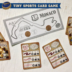 Tiny two player car racing card game, Famous 500 by Famous Games Co. (photo: game in play)