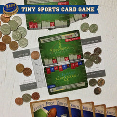 Tiny two player football card game, Famous First Downs by Famous Games Co. (photo: game in play)