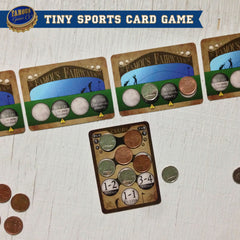 Tiny two player golf card game, Famous Fairways by Famous Games Co. (photo: game in play)