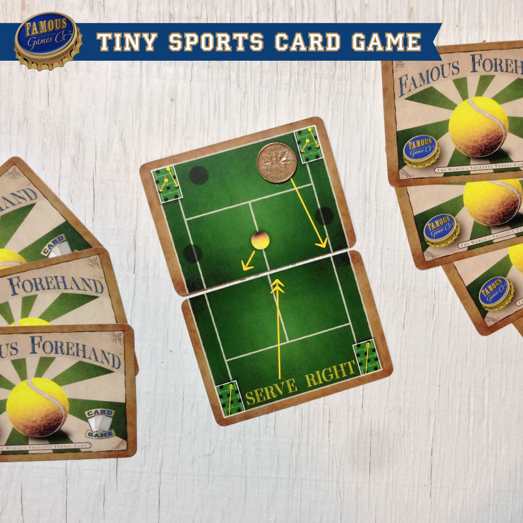 Tiny two player tennis card game, Famous Forehand by Famous Games Co. (photo: game in play)