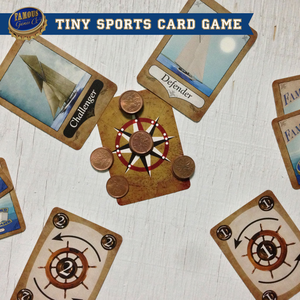 Tiny two player yacht racing card game, Famous Flagships by Famous Games Co. (photo: game in play)
