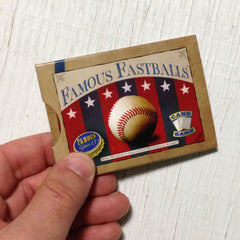 Two player baseball card game, Famous Fastballs (photo: game in hand)