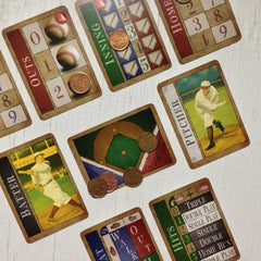Two player baseball card game, Famous Fastballs (photo: game in play)