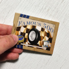 Two player car racing card game, Famous 500 (photo: game in hand)