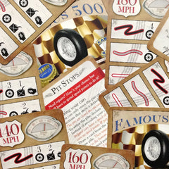 Two player car racing card game, Famous 500 (photo: scattered cards)