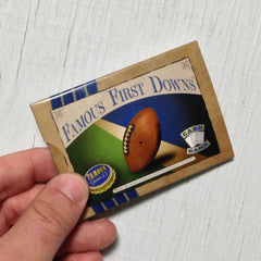 Two player football card game, Famous First Downs (photo: game in hand)