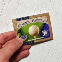 Two player golf card game, Famous Fairways (photo: game in hand)
