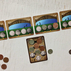 Two player golf card game, Famous Fairways (photo: game in play)