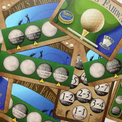 Two player golf card game, Famous Fairways (photo: scattered cards)