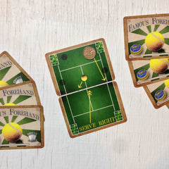 Two player tennis card game, Famous Forehand (photo: game in play)