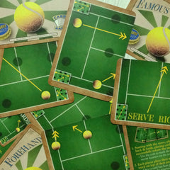 Two player tennis card game, Famous Forehand (photo: scattered cards)