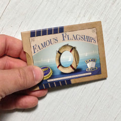 Two player yacht racing card game, Famous Flagships (photo: game in hand)