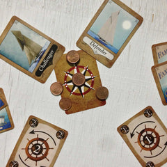 Two player yacht racing card game, Famous Flagships (photo: game in play)