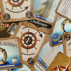 Two player yacht racing card game, Famous Flagships (photo: scattered cards)