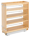 Rev-A-Shelf 448-BC-8C 8-Inch Base Cabinet Pullout Storage Organizer with Adjustable Wood Shelves and Chrome Rails