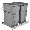 Rev-A-Shelf RV-18KD-17C S Double 35-Quart Sliding Pull Out Kitchen Cabinet Waste Bin Container, Gray