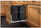 Rev-A-Shelf RV-18KD-18C S Double 35 Quart Sliding Pull Out Kitchen Cabinet Waste Bin Container, Black