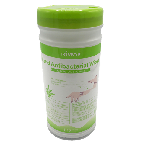 Riway 160 Count Canister Alcohol-Free Antibacterial Wipes - Kills 99.9% of Germs and Bacteria
