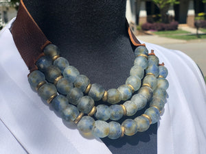 Water 3 Strand necklace with brass