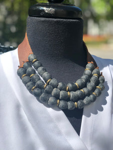 Charcoal 3 Strand necklace with brass