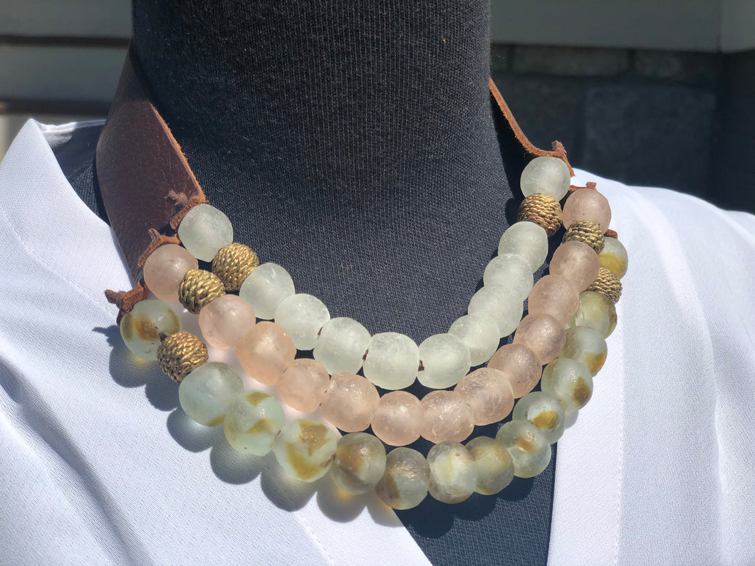 Soft Cotton 3-Strand Necklace with Brass Beads