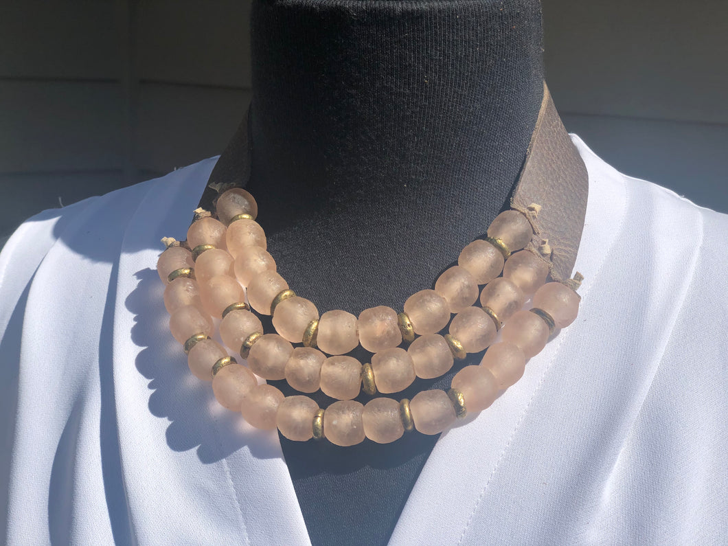 Blush 3 Strand Necklace with brass