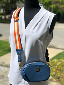 Hampton Road Oxford Blue Leather Annie with Orange and White Stripe Strap