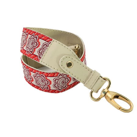 Hampton Road Gold Shoulder Strap with Crimson Flowers Trim